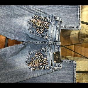 Miss Me Fleur de Lis Pocket Boot Cut Jeans
